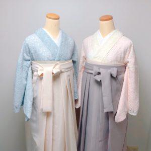 アイボリーとグレーのレース着物と袴のコーデ