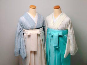 アイボリーとグレーのレース着物の袴コーデ