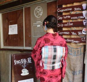 赤のアンティーク着物と名古屋帯コーデで京都の宇治散策