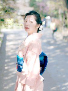 アンティーク着物と桜