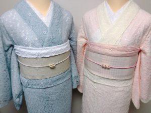 アイボリーとグレーのレース着物コーデの帯アップ